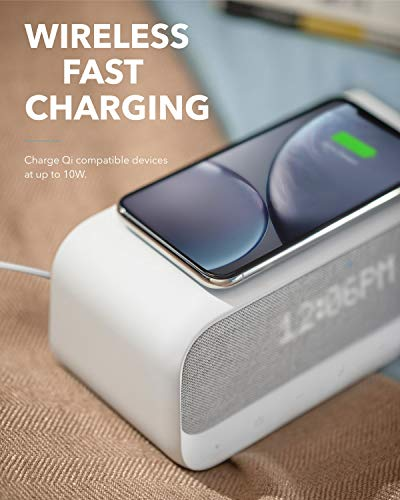 Soundcore Wakey Bluetooth Speakers Powered by Anker with Alarm Clock, Stereo Sound, FM Radio, White Noise, Qi Wireless Charger with 7.5W Charging for iPhone and 10W for Samsung (AK-A3300121)