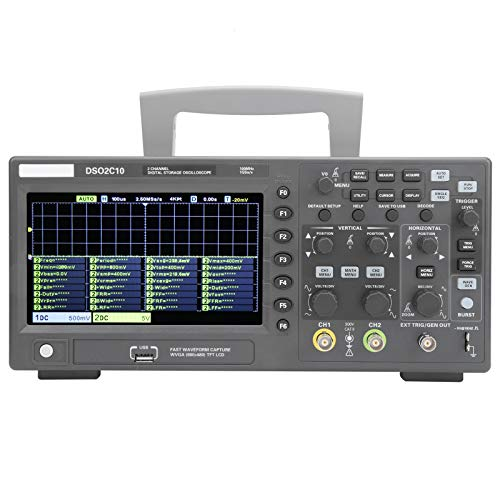 Osciloscopio de Almacenamiento Digital DSO2C10 2CH 100MHz 1GSa / s 8M Sonda Fpga Hantek para Laboratorio de Mantenimiento Electrónico(EU PLUG)