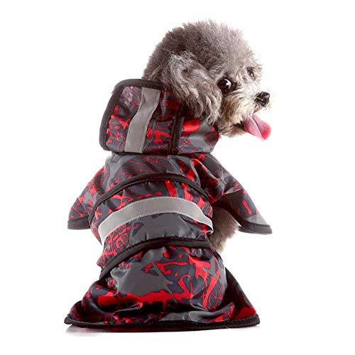 Pet regenjas, waterdichte transparante reflecterende streep Poncho Outdoor jas met capuchon voor hond Puppy Cat (XL)