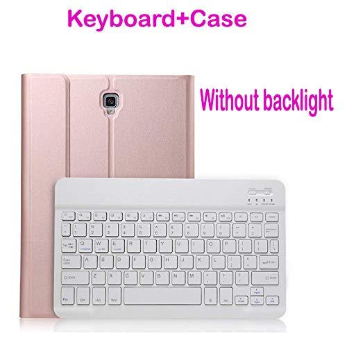 Adecuado para Galaxy Tab A 10.1 2019 SM-T510 SM-T515 retroiluminación y Estuche de Teclado inalámbrico Bluetooth sin opción de retroiluminación-Oro Rosa sin retroiluminación