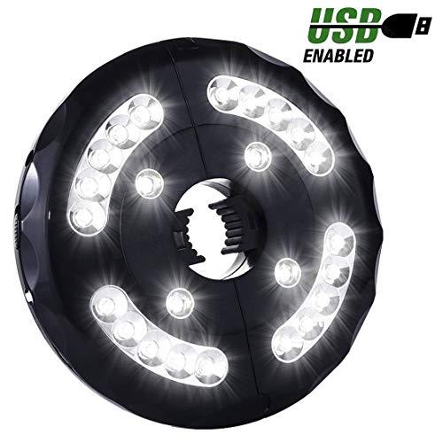 Miaoo LED-Sonnenschirm-Licht, wiederaufladbar, 24 LEDs, kabellos, für Terrassenschirme, Camping-Zelte oder Außenbereich