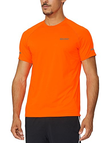 BALEAF Men's Quick Dry Short Sleeve T-Shirt Running Workout Shirts Orange Size XL