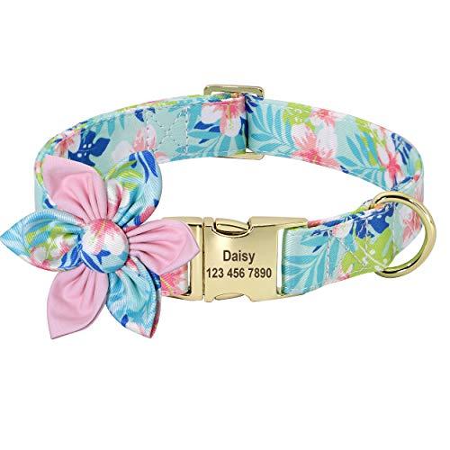 Beirui Collar de perro personalizado con diseño floral para perros femeninos, collares de mascotas grabados con hebilla dorada personalizada (flor de cada flor, S)
