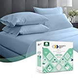 600 Thread Count Best Bed Sheets 100% Cotton Sheets Set - Extra Long-Staple Cotton Sheet for Bed 4 Piece Set with Deep Pocket (Blue, King Sheet Set)