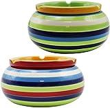 Dliso4 2-Piece Set ceniceros cenicero de Viento elaborados con los Mejores Dolomita de cerámica en Verde y Naranja Cada uno con Rayas Coloridas