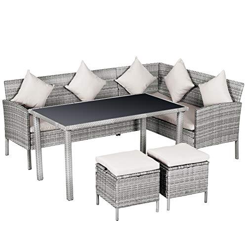 Outsunny Salon de Jardin 6 pers. Grand Confort canapé d'angle + 2 poufs + Table à Manger 9 Coussins Assise & Dossier fournis résine tressée Grise