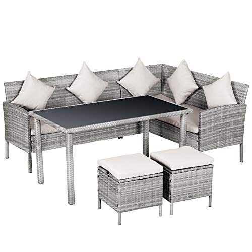 Outsunny Set 5 Pezzi Salotto da Esterno con 2 Divani 1 Tavolino 2 Sgabelli, Mobili da Giardino in Rattan Grigio