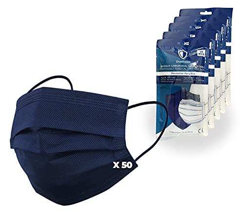 Juego de 5x 10 Mascarilla quirúrgicas colores desechables OneProtek - Mascarilla azul marino Tipo 2R IIR - Homologadas CE BFE ≥98% - Cómodas, transpirables y elásticas resistentes