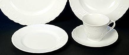 Preisvergleich für Rocaille Weiss Kaffee Service 18 teilig Neu Rund Relief Muster Leichtes Porzellan Geschirr Set 6 Personen