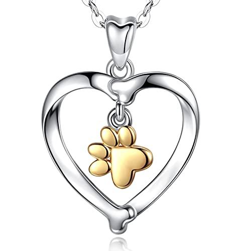 INFUSEU Collar de plata 925 de las mujeres del perro del amor de la plata...