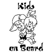 カーバンパーボディデカール 子供たちの上の子供かわいい漫画の警告車のステッカーの窓の装飾ビニールデカール10個、サイズ:13x18 cm (Color : Black)