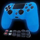 PS4 Controller Skin Funda de silicona en funda protectora oscura para PS4/slim/PS4 Pro Dualshock 4 Controller (azul)