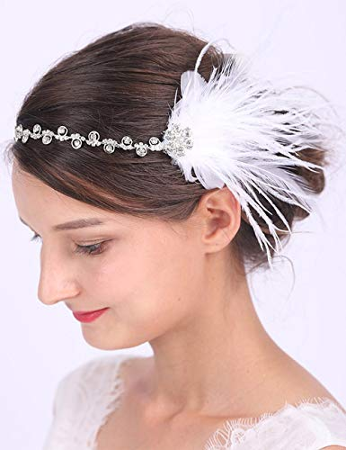 Anglacesmade Bridal Feather Headband White Feather Fascinator Handmade 20s Flapper Headband for Wedding Prom Festival Headdress for Women and Girls