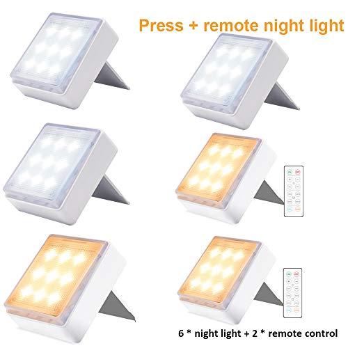 LED-afstandsbediening Nachtlampje Dimbare pers met afstandsbediening Traploos van kleur veranderend gangpad Trap Gangkast Nachtkastje Licht Set van 3 stuks met 2 afstandsbedieningen