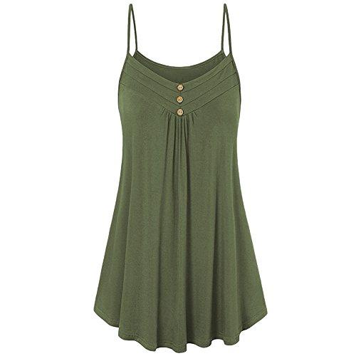 ESAILQ Damen Tunika Sommer Tops Damen Kurzarm Basic Uni Leichtes Freizeit Rundhals mit Knopf Plissee T-Shirt Oberteile(XXL,Armeegrün)