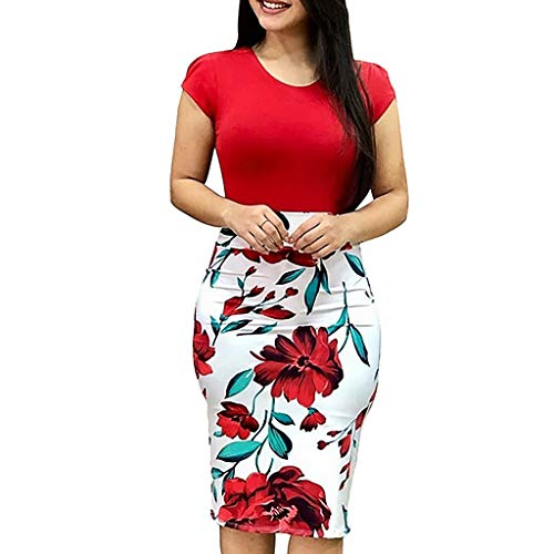 NREALY Dress Womens FashionSexy O-Neck Short Sleeve Splicing Flower Printing Buttock Dress(L, Red)