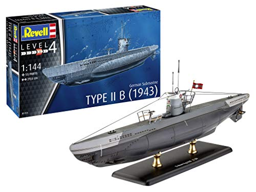 Revell 05155 German Submarine Typ IIB (1943) - Plastikmodellbausatz, Grau, 1: 144