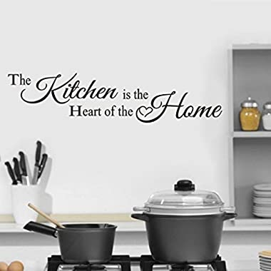 Wall Sticker For Kitchen,Fheaven 58x13CM  The Kitchen is the heart  The Decor Wall Sticker Decal Bedroom Removable Vinyl Art Mural Gift