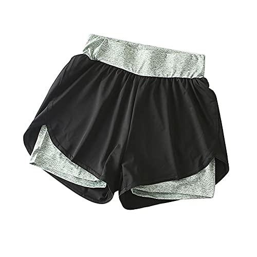 N\P Verano de doble capa de entrenamiento pantalones cortos de las mujeres flaco deporte fitness pantalones cortos mujeres
