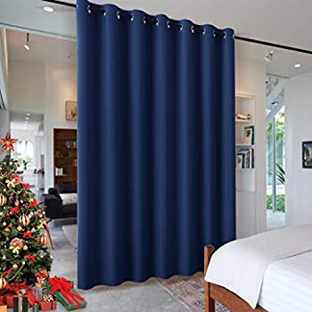 RYB HOME Partition Room Dividers - Light Block Thermal Insulated Seperating Curtains Grommet for Spare Bedroom Loft Home Office Living Room 1 Panel Navy Blue 12.5 ft Wide x 8 ft Long