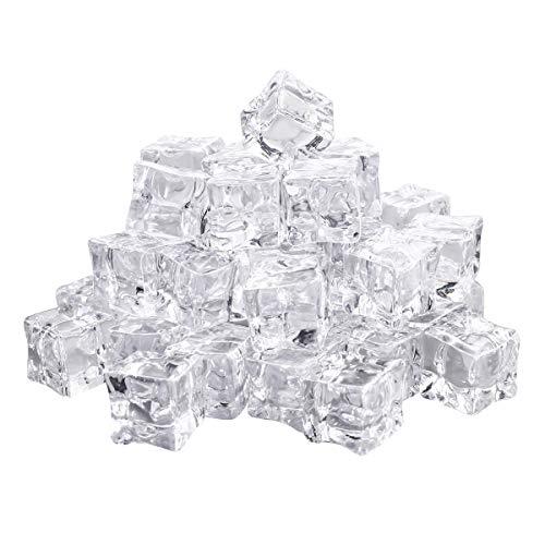 Vosarea 50 Stück Eiswürfel Wiederverwendbar Dauereiswürfel Klar Acryl Eiswürfel Deko 20mm Transparent Wiederverwendbar Eiswürfel für Küche Bar Whiskey Wein