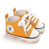 DEBAIJIA Bebé Primeros Pasos Zapatos de Lona0-6M NiñosAlpargata Suave Antideslizante Ligero Slip-on 17 EU Oscuro Amarillo (Tamaño Etiqueta-1)