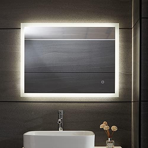Aquamarin® LED Badspiegel - Beschlagfrei, Dimmbar, 3 Lichtfarben 3000-7000K, Kaltweiß Neutral Warmweiß, energiesparend, vertikal/horizontal, Modellwahl - Badezimmerspiegel, Lichtspiegel (100 x 60 cm)