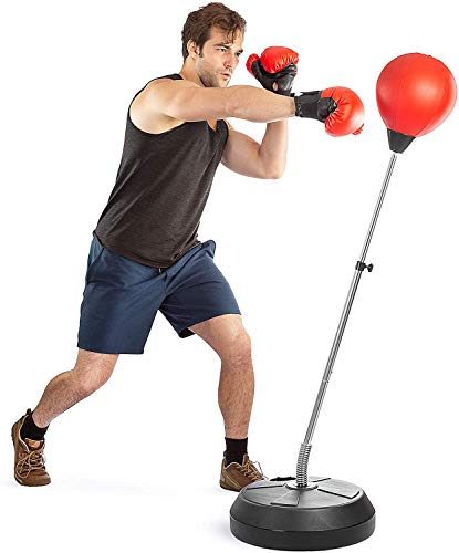unknow Punching Bag Boxing with Suction Cup Adjustable Free Standing Punching Speed Ball Bag(120CM-150CM) with Boxing Gloves