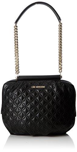 Love Moschino Borsa Quilted Nappa Pu Nero Gal.oro, Sacs portés épaule femme, Multicolore (Black-gold), 10x23x30 cm (B x H T)