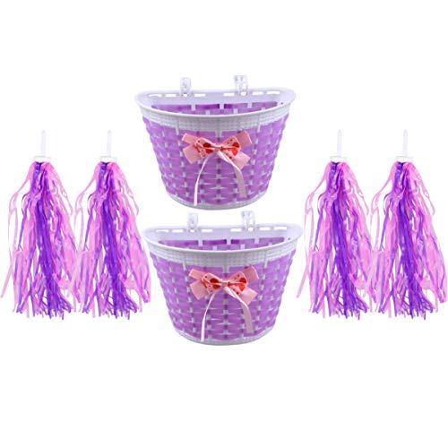 BESPORTBLE 4pcs Bike Accessories for Kids Front Handlebar Bike Basket Bike Streamers Tassel Ribbons for Boys Girls (Purple)