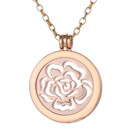 Morella Collana Donna 70 cm Acciaio Inossidabile Oro con Coins Moneta amuleto Ciondolo Rotondo 33 mm Mare di Fiori Color Oro Rosa in Sacchetto di Velluto