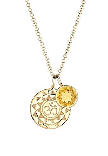 Elli Damen-Kette mit Anhänger Om Edelsteinkette Karma 925 Silber Citrin gelb Brillantschliff - 0102781915