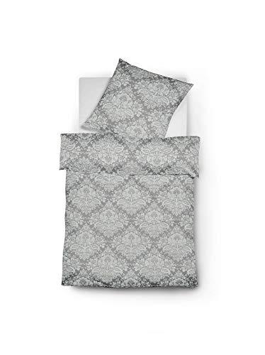 Fleuresse Edelflanell Bettwäsche Ornamente grau 1 Bettbezug 155 x 220 cm + 1 Kissenbezug 80 x 80 cm