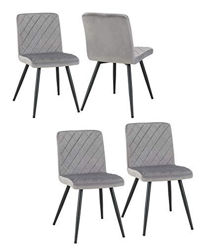 Duhome 4er Set Esszimmerstuhl Stuhl Retro Design Polsterstuhl mit Rückenlehne Metallbeine 8043Lx4, Farbe:Grau, Material:Samt