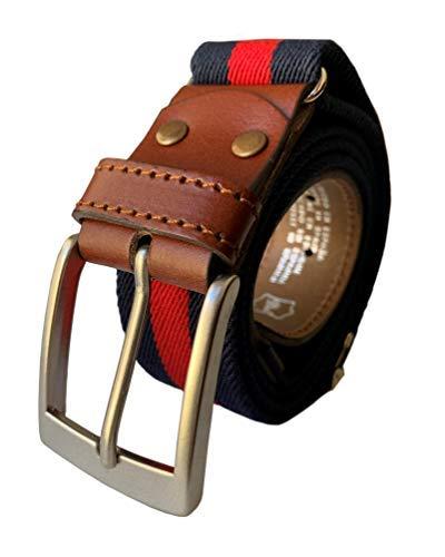 LEGADO Cinturon hombre y pulsera bandera España, cinturon elastico con cuero marron, piel de Ubrique como nuestras carteras y accesorios. (Marino Rojo)