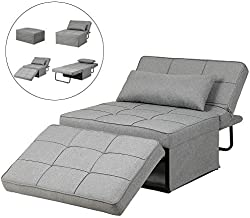 Diophros Folding Ottoman Sleeper Guest Bed, 4 in 1 Multi-Function Adjustable Ottoman Bench Guest Sofa Chair Sofa Bed (Light Grey)