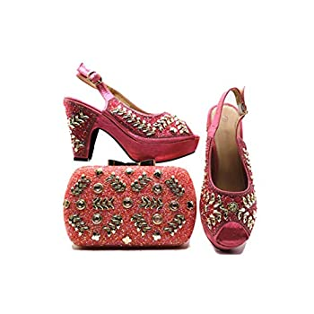 Italian Shoes with Matching Bag Set Decorated with Rhinestone Shoes and Bag Set African Sets,Pink,9.5