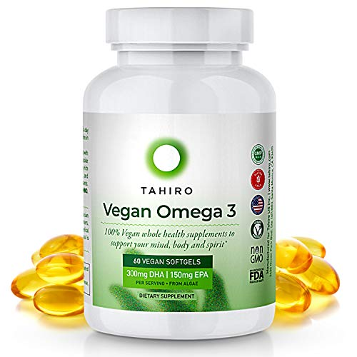 Vegan Omega 3 Supplement – with 300mg Algae Based DHA, 150mg EPA – 60 Sustainable Softgels for Heart, Immune & Brain Health Support in Pregnancies, Women, Men, Children by TAHIRO