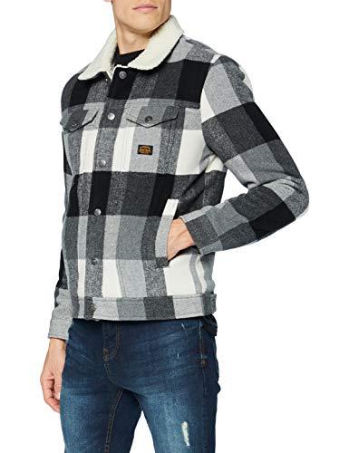 Superdry Mens Highwayman Wool Sherpa Trucker Denim Jacket, Black/White, Medium