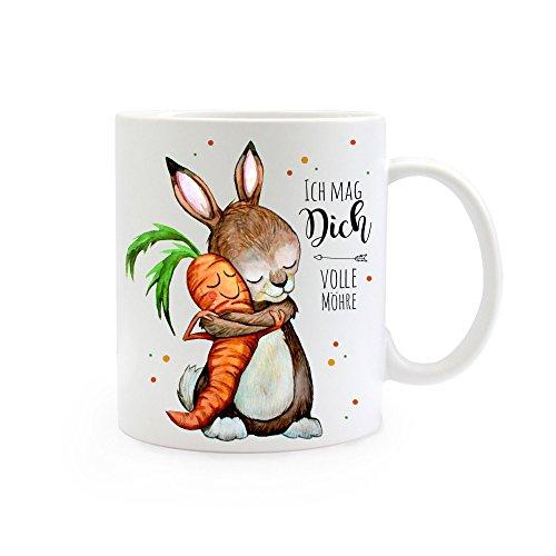ilka parey wandtattoo-welt® Tasse Becher Kaffeetasse Kaffeebecher Hase mit Karotte und Spruch ich mag Dich volle Möhre ts362
