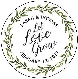 Let Love Grow Wedding Stickers, Let Love Grow Stickers, Greenery Wedding Favor Stickers Greenery Wedding Custom Stickers F11:23