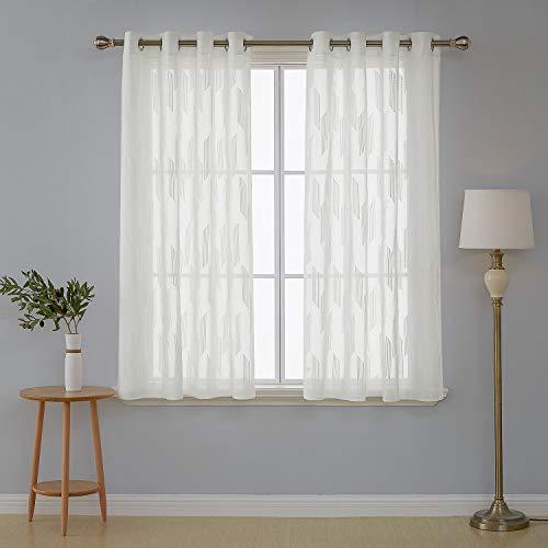 Deconovo Visillos Blancos para Ventanas Dormitorio de Salón Efecto Li