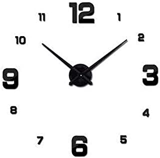 3D Sticker Wall Clock - Black