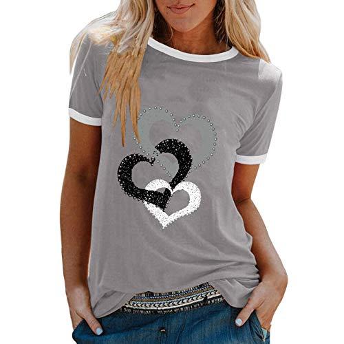 YANFANG Camiseta De Manga Corta Suelta con Cuello Redondo Y Estampado Informal A La Moda para Mujer, Blusa Superior, Jersey Camisetas Mujer Raya Blusas Tops FiestaXXLGray