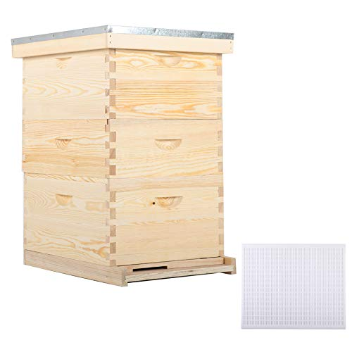 CO-Z Bee Hive with 10 Medium &20 Deep Honeycomb Foundation Frames, Bee Box for Beekeeper Starter, Beekeeping Supplies Equipment Tool, Wood Complete Honey Bee Hives Kit, 3 Layer Bees House Box