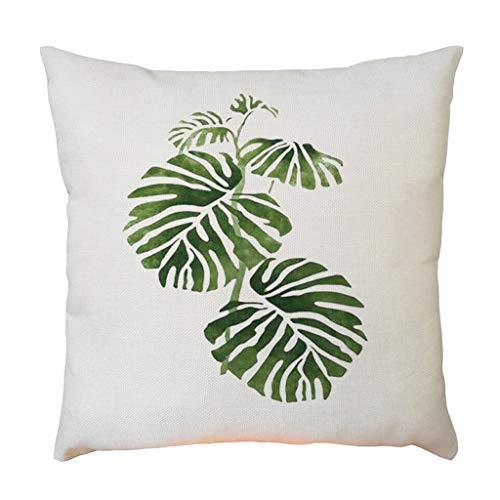 wuayi Kissenbezüge, Kissenbezüge Baumwolle Leinen 45 × 45 cm Einfache Mode Grün Pflanze Quadratisch Dekorative Überwurf Kissenbezug für Home Office Sofa Decor, Flax, e, Einheitsgröße