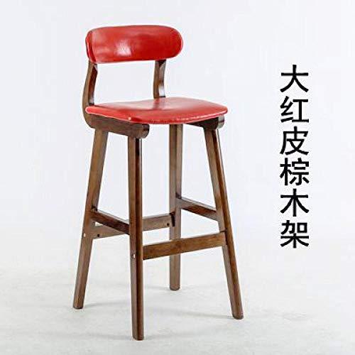 JIESIQ Retro Bistro Holzstuhl,PU Leder Bar Café Sitz mit Rückenlehne,hoher Hocker für zu Hause Küche und Esszimmer,28in hoch,Küchen Stuhl optimal Komfort,PU Ledersitz rot