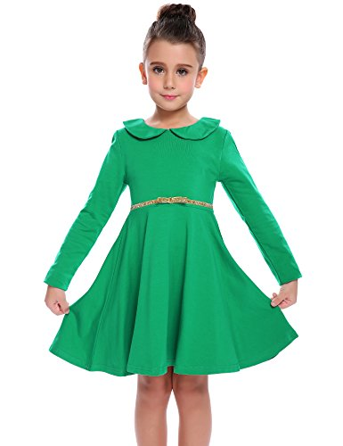 Kleid Mädchen Langarm Puppenkragen Baumwolle Langarmkleid Kinder Herbst Skaterkleid A-Linie Swing Prinzessin Freizeit Kleid Kleinkind Fattern Kleid Freizeitkleidung Grün 100
