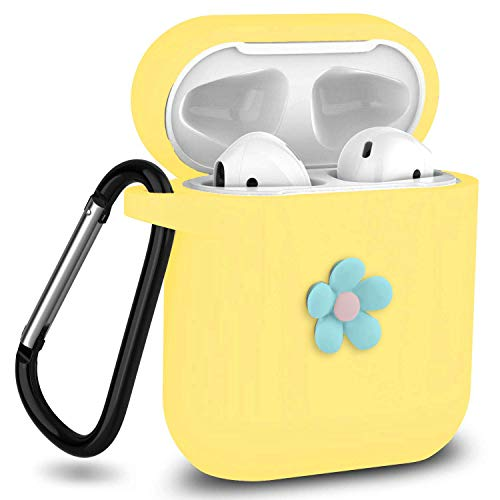 J.west AirPods Case with Chrome Keychain Soft Silicone Protective Case Flower Cover Compatible with Apple Airpods 1 & AirPods 2 [Front LED Not Visible] Charging Case (Yellow)