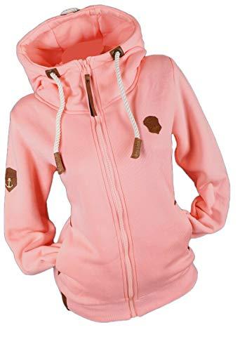 Damen Sweat Jacke Kapuze Fleece gefüttert Hoodie Übergangsjacke Uni S - 3XL (Rosa, x_l)